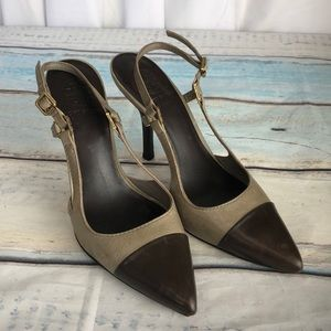 Tory Burch Kitten Heels 7 M Brown Tan Shoes